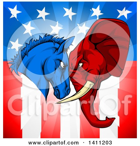 Clipart of a Political Democratic Donkey and Republican Elephant Elephant Butting Heads over an American Themed Flag - Royalty Free Vector Illustration by AtStockIllustration