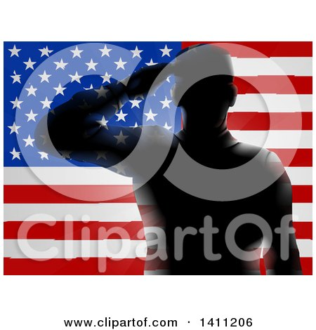 Clipart of a Black Silhouetted Saluting Soldier over an American Flag - Royalty Free Vector Illustration by AtStockIllustration