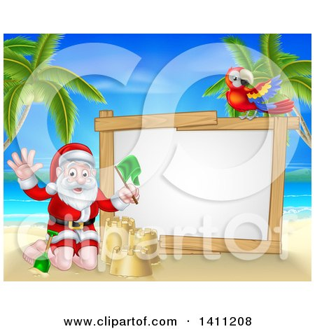 Clipart of a Christmas Santa Claus Waving and Making a Sand Castle on a Tropical Beach by a Blank White Sign with a Parrot - Royalty Free Vector Illustration by AtStockIllustration