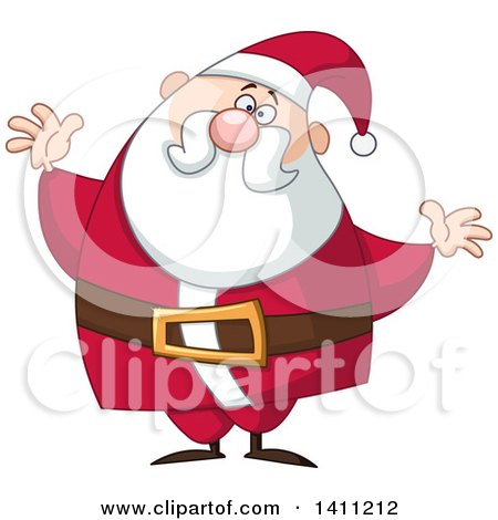 Clipart of a Cartoon Chubby Christmas Santa Claus with Open Arms - Royalty Free Vector Illustration by yayayoyo