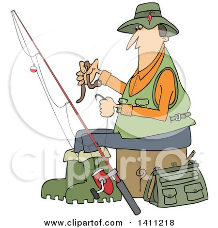 Clipart Of A Cartoon Caucasian Fisherman Putting A Worm On A Hook Royalty Free Vector Illustration