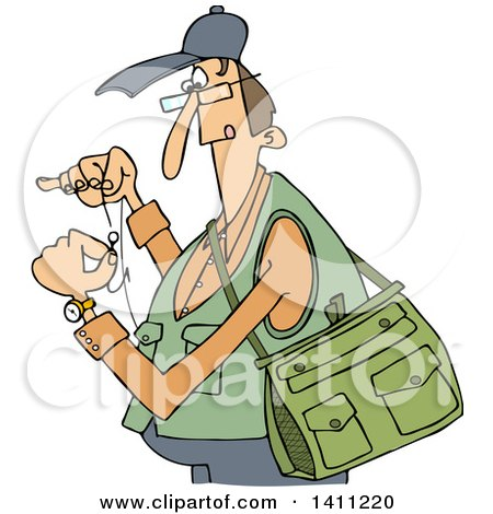 Clipart of a Cartoon Caucasian Fisherman Threading a Hook - Royalty Free Vector Illustration by djart