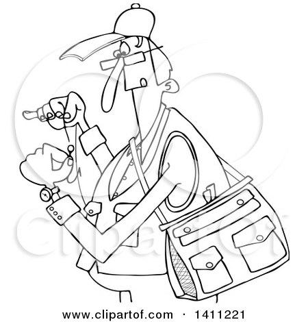 Clipart of a Black and White Lineart Cartoon Fisherman Threading a Hook - Royalty Free Vector Illustration by djart