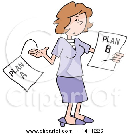 Clipart of a Cartoon Caucasian Woman Moving on to Plan B - Royalty Free Vector Illustration by Johnny Sajem