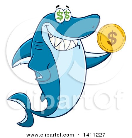 Clipart of a Cartoon Happy Shark Mascot Character Holding a Dollar Coin - Royalty Free Vector Illustration by Hit Toon