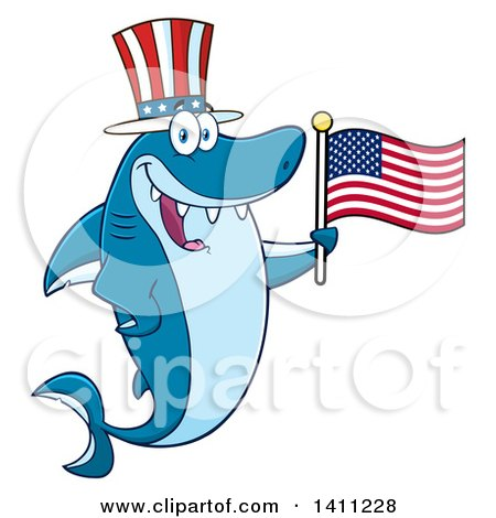 Clipart of a Cartoon Happy Shark Mascot Character Wearing a Top Hat and Waving an American Flag - Royalty Free Vector Illustration by Hit Toon