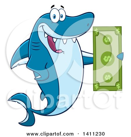 Clipart of a Cartoon Happy Shark Mascot Character Holding a Banknote - Royalty Free Vector Illustration by Hit Toon