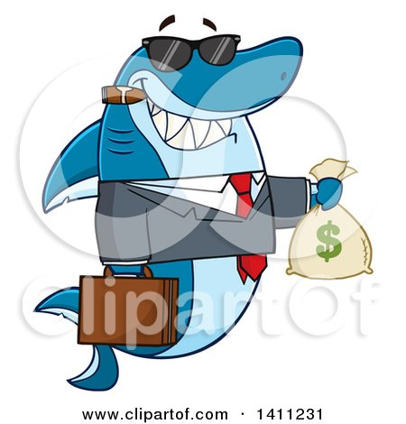 Clipart of a Cartoon Business Shark Mascot Character Wearing Sunglasses, Smoking a Cigar and Holding a Money Bag - Royalty Free Vector Illustration by Hit Toon