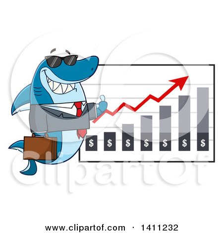 Clipart of a Cartoon Business Shark Mascot Character Wearing Sunglasses and Giving a Thumb up by a Profit Chart - Royalty Free Vector Illustration by Hit Toon