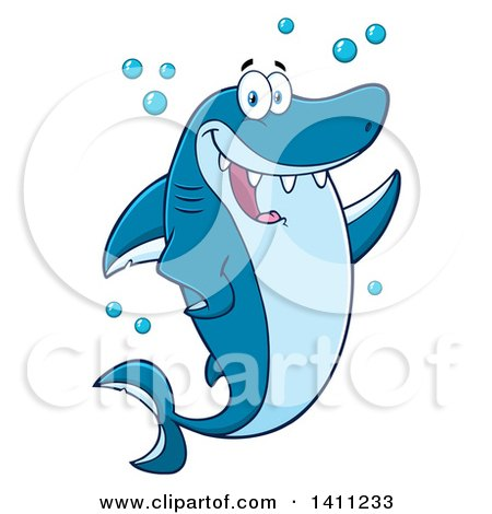 Cartoon Of A Black And White Grinning Shark Outline
