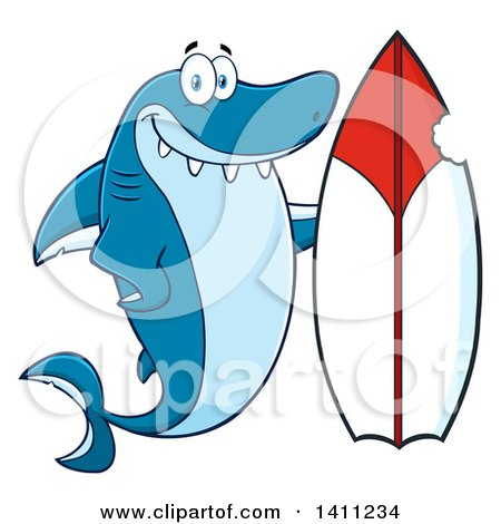 Clipart of a Cartoon Happy Shark Mascot Character with a Bite Taken out of a Surf Board - Royalty Free Vector Illustration by Hit Toon