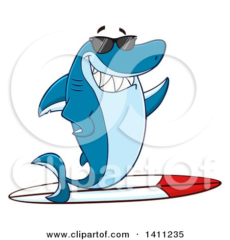 Clipart of a Cartoon Happy Shark Mascot Character Waving, Wearing Sunglasses and Surfing - Royalty Free Vector Illustration by Hit Toon
