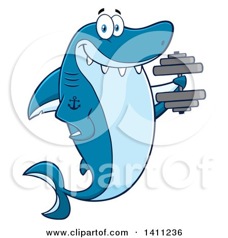 Clipart of a Cartoon Happy Tattooed Shark Mascot Character Working out with a Dumbbell - Royalty Free Vector Illustration by Hit Toon