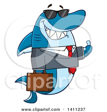 Clipart of a Cartoon Business Shark Mascot Character Wearing Sunglasses and Giving a Thumb up - Royalty Free Vector Illustration by Hit Toon