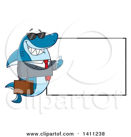 Clipart of a Cartoon Business Shark Mascot Character Wearing Sunglasses and Giving a Thumb up by a Blank Sign - Royalty Free Vector Illustration by Hit Toon