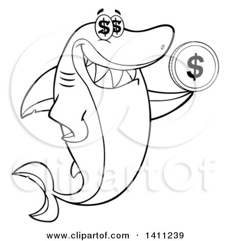 Clipart of a Cartoon Black and White Lineart Happy Shark Mascot Character Holding a Dollar Coin - Royalty Free Vector Illustration by Hit Toon