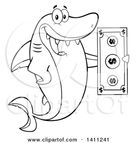 Clipart of a Cartoon Black and White Lineart Happy Shark Mascot Character Holding a Banknote - Royalty Free Vector Illustration by Hit Toon
