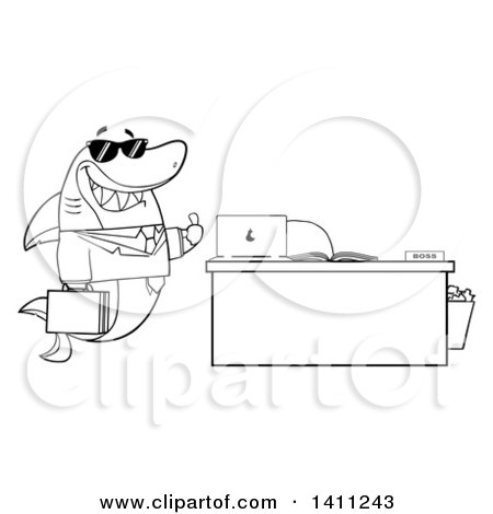 Clipart of a Cartoon Black and White Lineart Business Shark Mascot Character Wearing Sunglasses and Giving a Thumb up by an Office Desk - Royalty Free Vector Illustration by Hit Toon