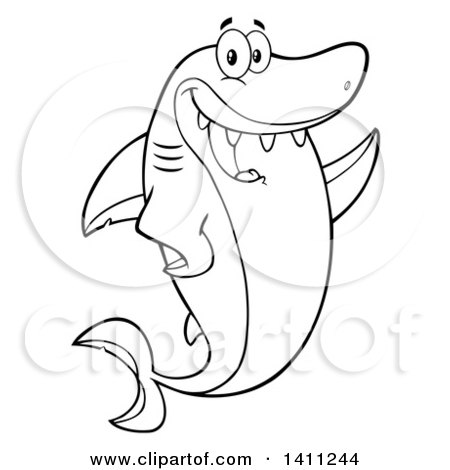 Clipart of a Cartoon Black and White Lineart Happy Shark Mascot Character Waving or Presenting - Royalty Free Vector Illustration by Hit Toon