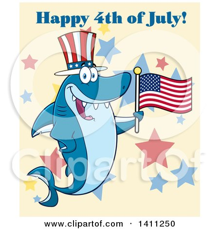 Clipart of a Cartoon Happy Shark Mascot Character Wearing a Top Hat and Waving an American Flag over Stars - Royalty Free Vector Illustration by Hit Toon
