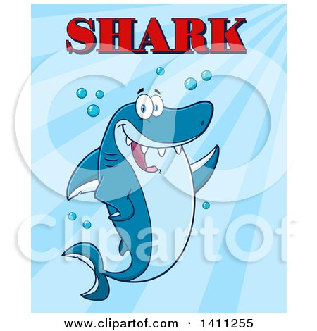 Clipart of a Cartoon Happy Shark Mascot Character Waving or Presenting, with Text over Blue - Royalty Free Vector Illustration by Hit Toon