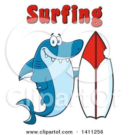 Clipart of a Cartoon Happy Shark Mascot Character with a Bite Taken out of a Surf Board and Surfing Text - Royalty Free Vector Illustration by Hit Toon