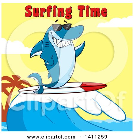 Clipart of a Cartoon Happy Shark Mascot Character Waving, Wearing Sunglasses and Surfing, with Text over a Sunset Sky - Royalty Free Vector Illustration by Hit Toon