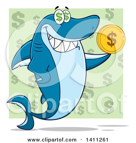 Clipart of a Cartoon Happy Shark Mascot Character Holding a Dollar Coin over a Green Pattern - Royalty Free Vector Illustration by Hit Toon