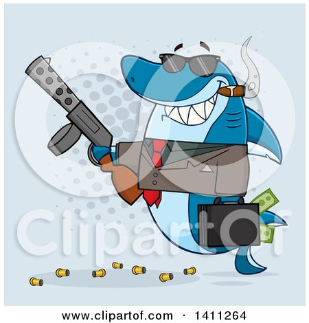 Clipart of a Cartoon Happy Shark Mascot Character Gangster Businessman Smoking a Cigar, Holding a Briefcase Full of Money and a Gun, over Blue - Royalty Free Vector Illustration by Hit Toon