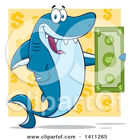 Clipart of a Cartoon Happy Shark Mascot Character Holding a Banknote over a Yellow Dollar Pattern - Royalty Free Vector Illustration by Hit Toon