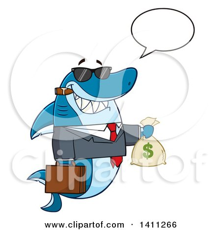 Clipart of a Cartoon Business Shark Mascot Character Talking, Wearing Sunglasses, Smoking a Cigar and Holding a Money Bag - Royalty Free Vector Illustration by Hit Toon