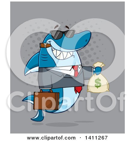 Clipart of a Cartoon Business Shark Mascot Character Wearing Sunglasses, Smoking a Cigar and Holding a Money Bag, over Gray - Royalty Free Vector Illustration by Hit Toon
