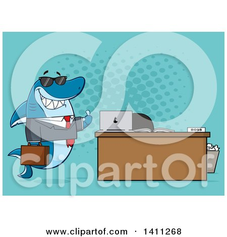 Clipart of a Cartoon Business Shark Mascot Character Wearing Sunglasses and Giving a Thumb up by an Office Desk, over Blue - Royalty Free Vector Illustration by Hit Toon
