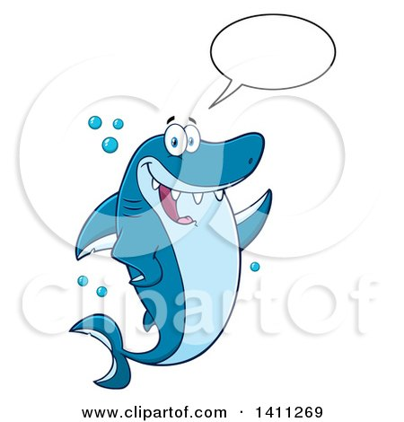 Clipart of a Cartoon Happy Shark Mascot Character Talking, Waving or Presenting - Royalty Free Vector Illustration by Hit Toon