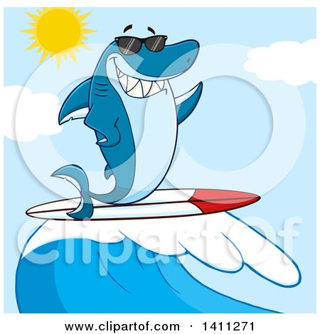 Clipart of a Cartoon Happy Shark Mascot Character Waving, Wearing Sunglasses and Surfing over a Blue Sky - Royalty Free Vector Illustration by Hit Toon