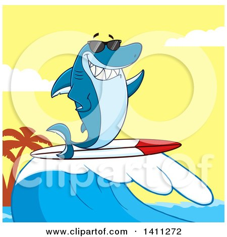 Clipart of a Cartoon Happy Shark Mascot Character Waving, Wearing Sunglasses and Surfing over a Sunset Sky - Royalty Free Vector Illustration by Hit Toon