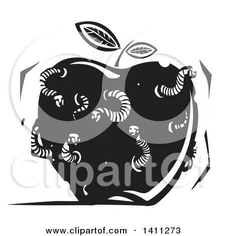 Clipart of a Black and White Woodcut Apple with with Man Faced Worms - Royalty Free Vector Illustration by xunantunich