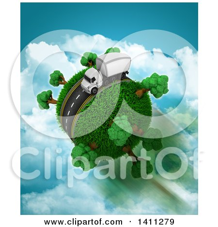 Clipart of a 3d Highway with a Big Rig Truck Around a Grassy Planet, over Sky - Royalty Free Illustration by KJ Pargeter