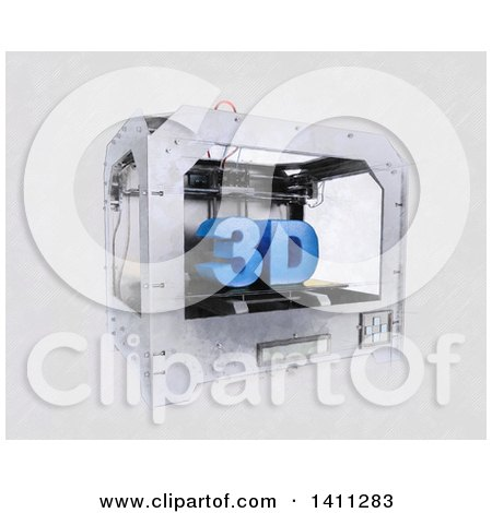 Clipart of a Sketched Styled 3d Printer - Royalty Free Illustration by KJ Pargeter