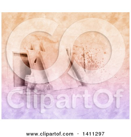 Clipart of a Watercolor Scene of Blank Art Canvases and Paintbrushes - Royalty Free Illustration by KJ Pargeter