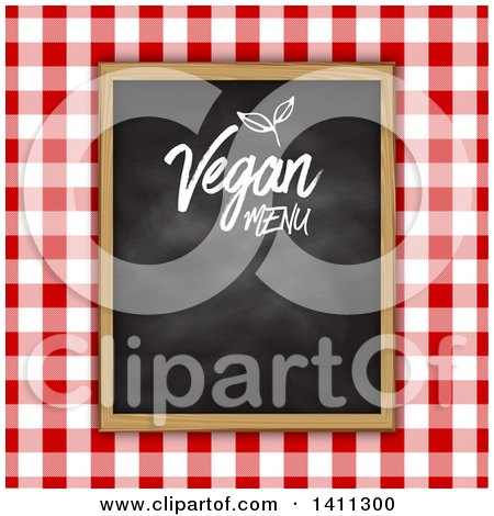 Clipart of a Vegan Menu Chalkboard over Red Gingham Cloth - Royalty Free Vector Illustration by KJ Pargeter