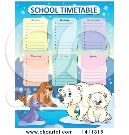 Clipart of a School Timetable with Arctic Animals - Royalty Free Vector Illustration by visekart