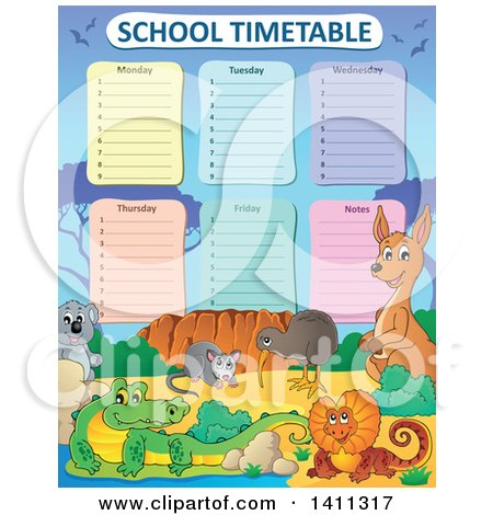Clipart of a School Timetable with Australian Animals - Royalty Free Vector Illustration by visekart