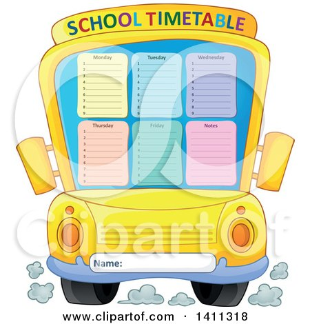 Clipart of a School Timetable Bus - Royalty Free Vector Illustration by visekart