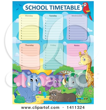 Clipart of a School Timetable with African Animals - Royalty Free Vector Illustration by visekart