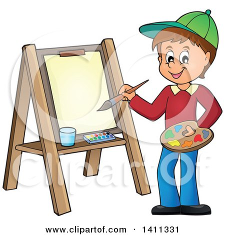 Cartoon Caucasian Boy Painting on Canvas Posters, Art Prints