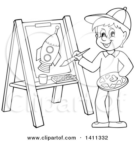 Cartoon Black and White Lineart Boy Painting a Flower on Canvas Posters, Art Prints