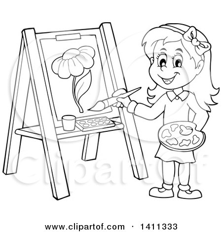Cartoon Black and White Lineart Girl Painting a Flower on Canvas Posters, Art Prints