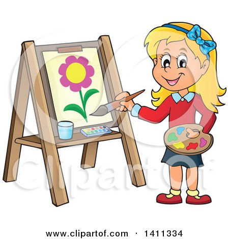 Cartoon Caucasian Girl Painting a Flower on Canvas Posters, Art Prints