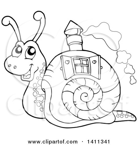 Clipart of a Black and White Snail with a House Shell - Royalty Free Vector Illustration by visekart